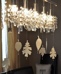 hanging leaves cut from books - white fall table 032