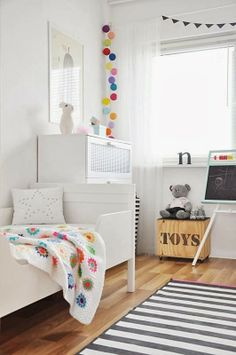 roomor!: kid's room, white, scandi deco, heico rabbit, colorful cotton ball string lights