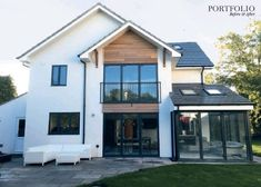 lots of light with glass, symetry Home Exterior Makeover, Exterior Remodel, House Exterior Color Schemes, Exterior Design, House Extension Plans, Extension Ideas, Cedar Cladding House, Rendered Houses, House Makeovers