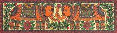 Decorative Elephants (Madhubani Folk Art on Paper - Unframed) Madhubani Art, Madhubani Painting, Indian Folk Art, Wildlife Paintings, Animal Posters, We Are The World, Fashion Painting, Silk Painting, Painting Art