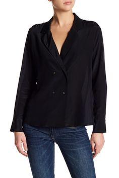 Six Crisp Days Front Double Button Long Sleeve Black Blouse