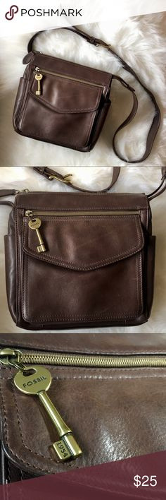 "Fossil vintage pebbled leather crossbody bag Fossil vintage pebbled dark brown leather flap crossbody bag  Measures 9"" x 8.5""   21""-24"" Adjustable Leather Strap   Brass Key  Brass Hardware  Zippers in working order  Zippered Pocket on front flap  2 open interior pockets 1 zippered main compartment pocket 1 small interior zippered pocket   Brown Signature Lining  Good vintage condition Fossil Bags Crossbody Bags"