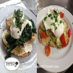 How do you like your #poachedeggs for #breakfast? Which would you choose? #espinacas or #aguacate? Let us know guys in the comment section below. Tapeo: 82 Redfern St, Redfern NSW. Check us out at http://www.Tapeo.com.au & follow us on FB http://FB.com.tapeo.au #tapeo #tapeocafe #tapeoredfern #redfern #sydneycafe #sydney #cafe #restaurant
