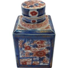 Antique Chinese Imari Tea Caddy with Lid 19th Century from Antiques of River Oaks on Ruby Lane $450 - Questions Call: 713-961-3333
