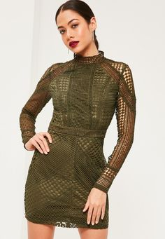 Missguided - Premium Khaki Structured High Neck Lace Mini Dress