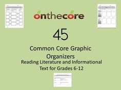 45 Common Core Graphic Organizers for Literature and Informational Text - AnthonyFitzpatrick - TeachersPayTeachers.com