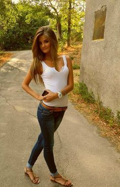 jeans and tank top, simple and cute
