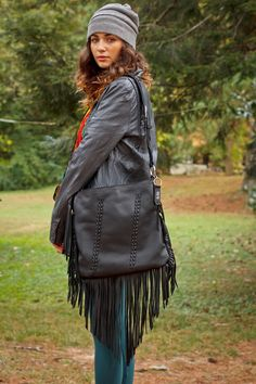 Black Leather Fringe Purse, Shoulder Bag, Cross Body, Black Fringe and Tassel, Handmade in USA, on Etsy, $175.00