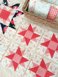 Carried Away Quilting sews the corner star blocks for the Star Spangled BOM with Lindsey Weight and Fort Worth Fabric Studio.  Fabrics from Fig Tree & Company and Bonnie & Camille, both for Moda.