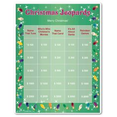 Adult Christmas party game for teams. Works well at office Christmas parties...and competition can be fierce! Multiple game boards with all new categories & questions for multiple rounds. Funsational $6.99.