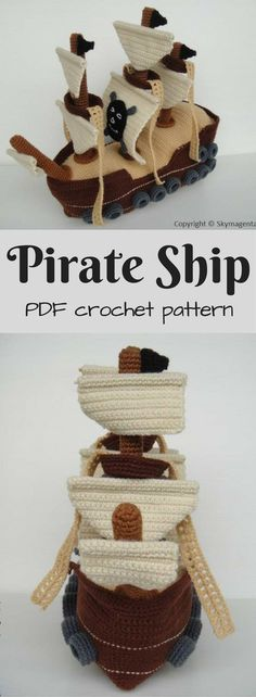 Awesome Pirate Ship Amigurumi crochet pattern to download! I love the detail on this lovely handmade toy pattern. #etsy #ad #pdf