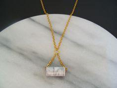 Ketten mittellang - Kette geometrisch Röhrchen Marmor - Optik gold - ein Designerstück von buntezeiten bei DaWanda