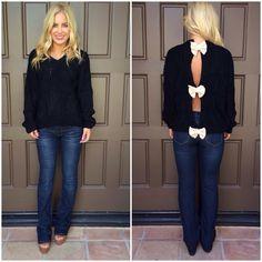 Black Open Back Bow Knit Sweater | USTrendy