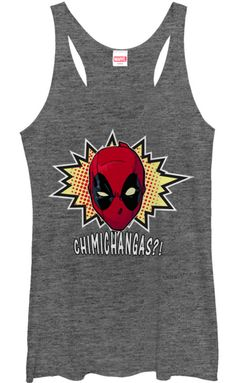 Officially Licensed Merchand Deadpool - Chimichangas - Juniors Tri-Blend Racerback Tank is Designed & Printed in the USA. We use only the best name brand shirts. Pre-Shrunk, 100% Cotton. Superb Qualit