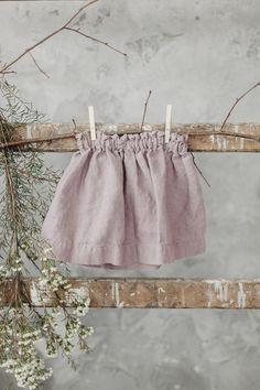 Linen Skirt Dusty Pink Skirt for Girls Washed Linen Baby