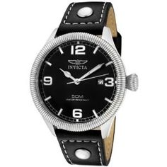 #6: Invicta Men's 1460 Vintage Collection Riveted Leather Strap Black Dial Watch