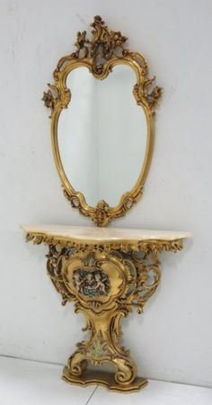 Made in Italy, With mirror. Rococo Style, Home Decor Furniture, Antique Furniture, Marble Top, Wood Framed Mirror, Wall Mirror, Romantic Bedroom Decor, Wood Carving Designs, Iron Decor
