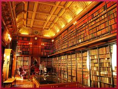 Library of knowledge:  A big library in the castle Chantilly in France.