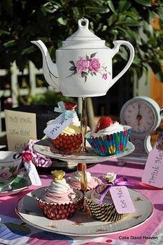 Alice in Wonderland Mad Tea Party Vintage Cake Stand