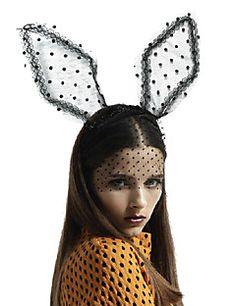 forma de orelha de coelho doce do laço de tecido preto com pequenos preto headbands manchados de tamanho médio