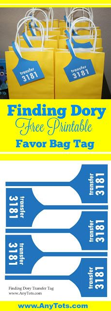 Finding Dory Favor Bag or Treat bag Idea with Free printable Finding Dory Tag. Visit www.anytots.com for more Finding Dory Party Ideas + Free Party Printables.
