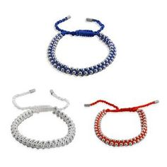 Set of 3 - Red Blue and White Bracelets on Silk Cord in Stainless Steel (Adjustable)