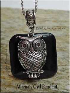 Bailed Athena'S Owl Pendant on Black Onyx Gemstone -- A Magickal Combination of Stone and Symbolism