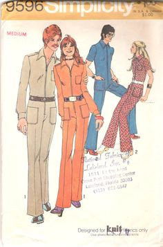 1970s Simplicity 9596 Mens Groovy JUMPSUIT Pattern for by mbchills