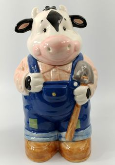 Treasure Craft Vintage Ceramic Cookie Jar Farmer Cow in Overalls