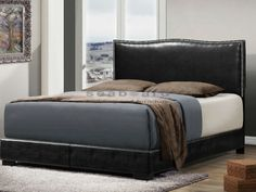 This Jesper Black Nailhead Full Bed is a good choice for you contemporary or transitional style bedroom