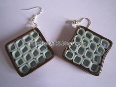 Handmade Jewelry - Paper Quilling Square Earrings (2)