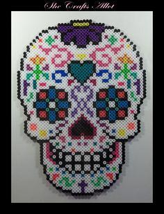 Perler Bead, Colorful Sugar Skull Pattern. Halloween