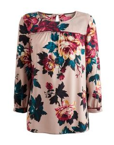 Joules Womens Smock Top, Mink Floral.