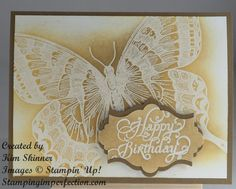 Stampin' Up! Swallowtail sponged emboss resist technique.  Video tutorial included!