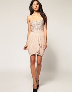 Lipsy VIP Embellished Bustier Tulip Dress