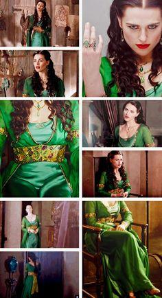 Morgana's satin green dress.