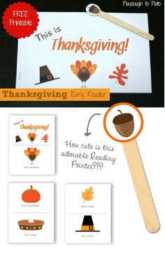 {Thanksgiving Mini-Reader Download} Is that acorn pointer adorable or what?!? Love the simplicity of this...