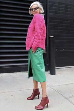 Knit Fashion, Grey Fashion, Work Fashion, Womens Fashion, Style And Grace, My Style, Advanced Style, Sweater Coats, Colorful Fashion