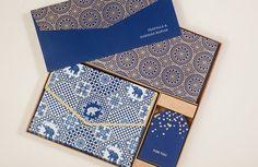 PERSONALIZED STATIONERY BOX Set Indigo & Gold Elephants Print - Indian Wedding Favor Gift