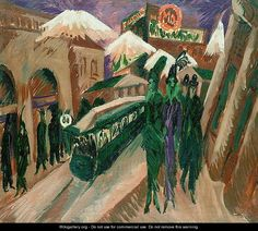Leipzig Street with Electric Tram - Ernst Ludwig Kirchner