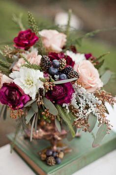 burgundy wine berries blueberries blush roses seeded eucalyptus wedding florals by penny blooms -- via wedding chicks