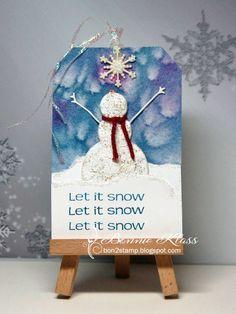 Stamping with Klass: Snowman Joy Tag Christmas Bulbs, Christmas Cards, Stamping, Snowman, Card Ideas, Joy, Wine, My Favorite Things, Glasses