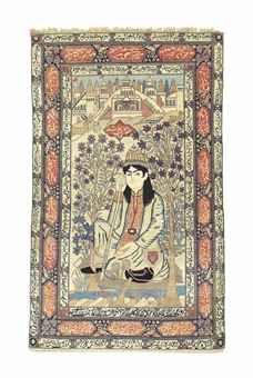 KASHAN 'MOHTASHAM' PICTORIAL RUG CENTRAL PERSIA, CIRCA 1890 Depicting Nur 'Ali Shah, 7ft.1in. x 4ft.3in. (215cm. x 128cm.)