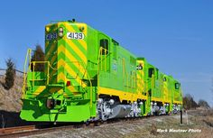 Mark Mautner took this photo of Terry Respondek's freshly repainted Geeps. By the shot it is evident that Terry is an ILLINOIS TERMINAL RAILWAY fan, and he his Mark's friend and boss. The lead unit in the photo is ex-CNW, originally Rock Island, while the other two are ex-Peabody Coal nee-SLSF. Terry owns several shortlines including the Squaw Creek Southern, Illini Terminal, and the Port Harbor Railroad!