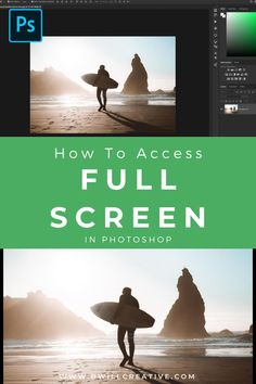 Did you know you could switch to full screen mode in Photoshop with a single click? This Photoshop tutorial will walk you through how to switch between the different screen modes and which ones are best for you! #FullScreenMode #EnlargePhoto #PhotoshopWorkspace #PhotoshopTutorial Photography Editing, Photography Tutorials, Amazing Photography, Editing Photos, Photo Editing, Photoshop Tutorial, Photoshop Actions, Setting Option, Editing Skills