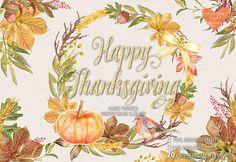 Watercolor Happy Thanksgiving  @creativework247