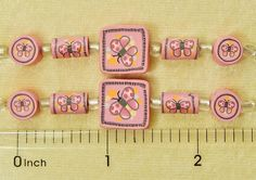 10 Assorted Fimo Polymer Clay Fun Pink Butterfly Coin Square Tube 2 Sided Beads #Assorted