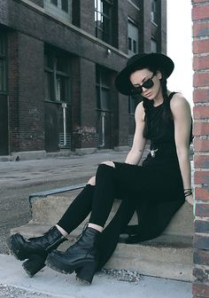 Get this look: http://lb.nu/look/7122298 More looks by Waters Riley: http://lb.nu/streetfem Items in this look: Unif Boot #edgy #elegant #gothic