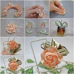 45 Pretty DIY Hair Accessories and Tutorials to Add Style to Kids Beauty Collection- 45 Pretty DIY Hair Accessories and Tutorials to Add Style to Kids Beauty Collection Alluring rose designed DIY hair clip making tutorials - Diy Hair Accessories Bridal, Diy Hair Accessories Tutorial, Ribbon Hair Bows, Ribbon Work, Ribbon Flower, Hair Bow Tutorial, Flower Tutorial, Fabric Roses, Fabric Ribbon