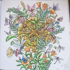 Imagimorphia colouring book using Faber Castell Polychromos pencils